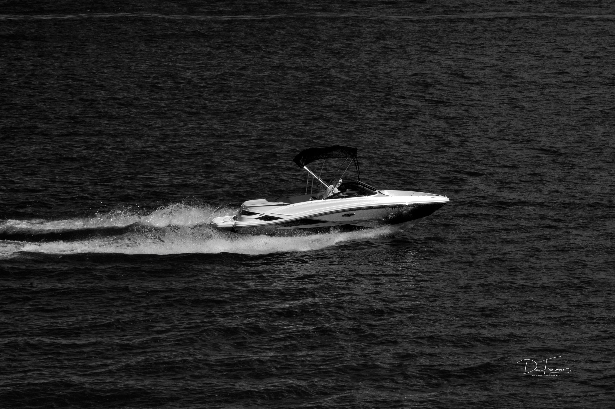 Photo in Black and White #sony #speed boat #black and white