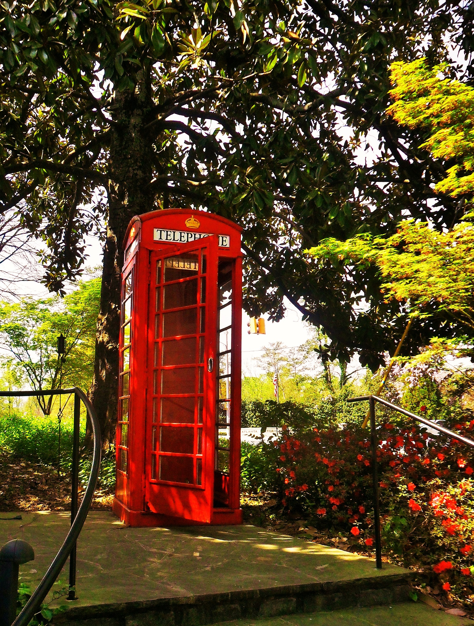 Classic Red Telephone Booth by Julie Piwaron