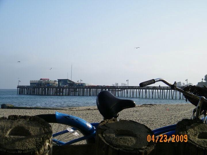 Capitola Beach outside Zeldas looking towards wharf by Diane Kannely Britt