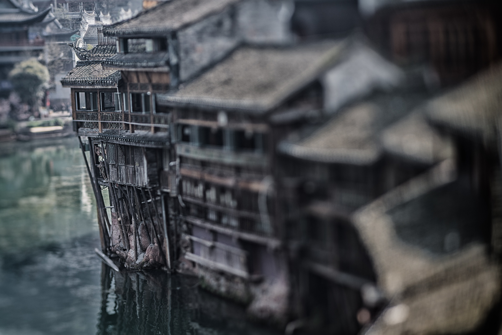 Photo in Travel #fenghuang #hunan #lensbaby #phoenix city #china #river #stilts #old #house