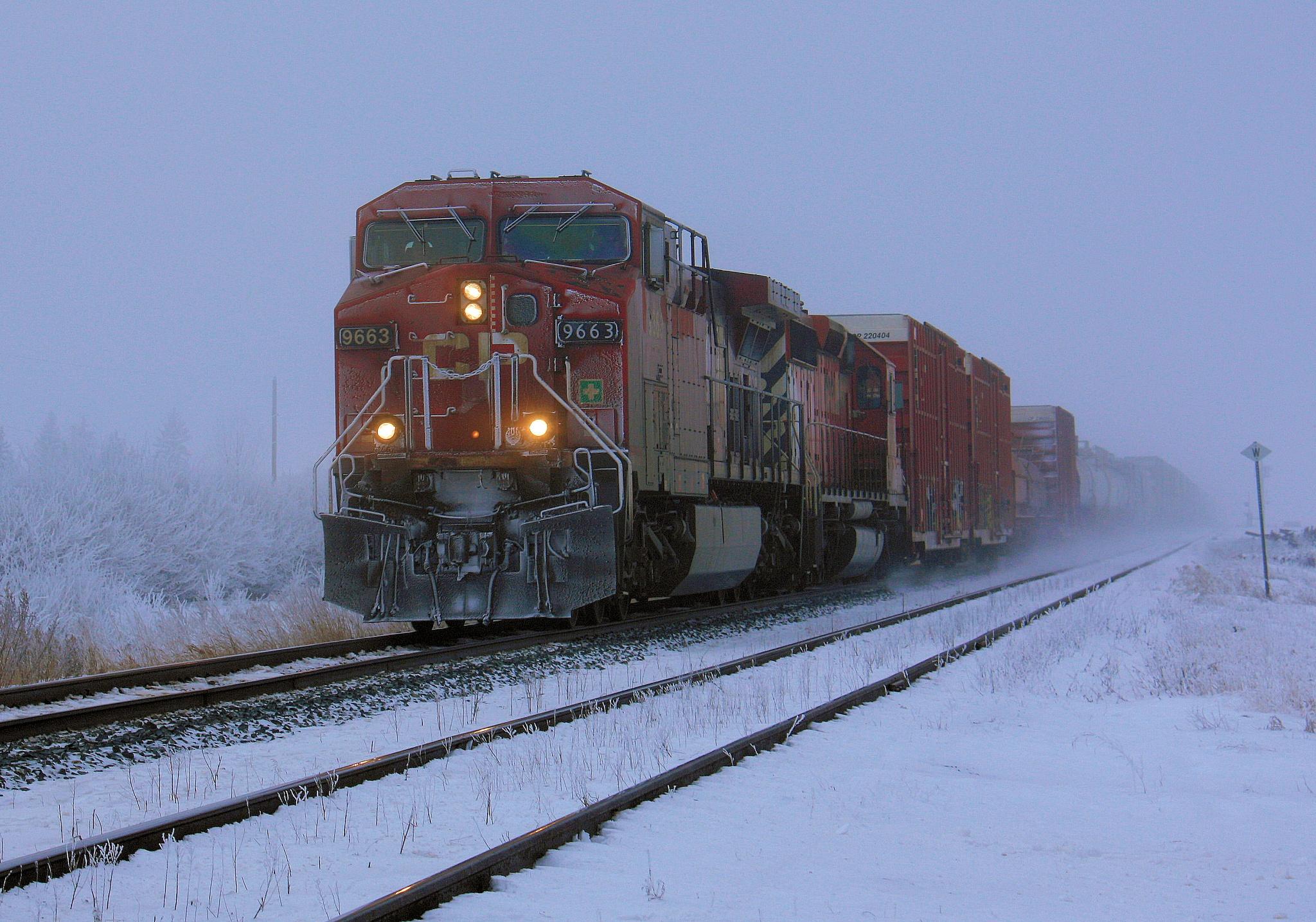 CP Rail #9663  Frost & Fog by Dan Loran