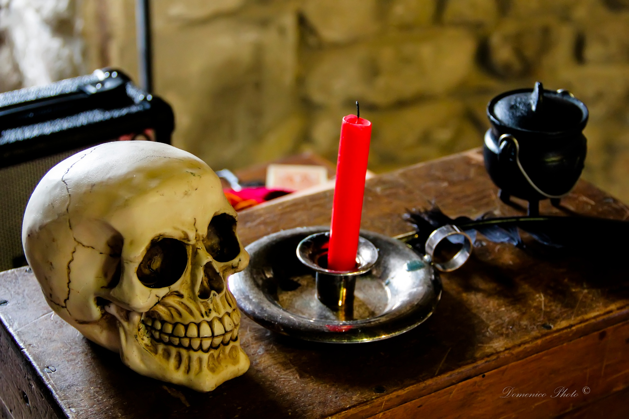 Photo in Still Life #skull #color #candle #alchemist #table