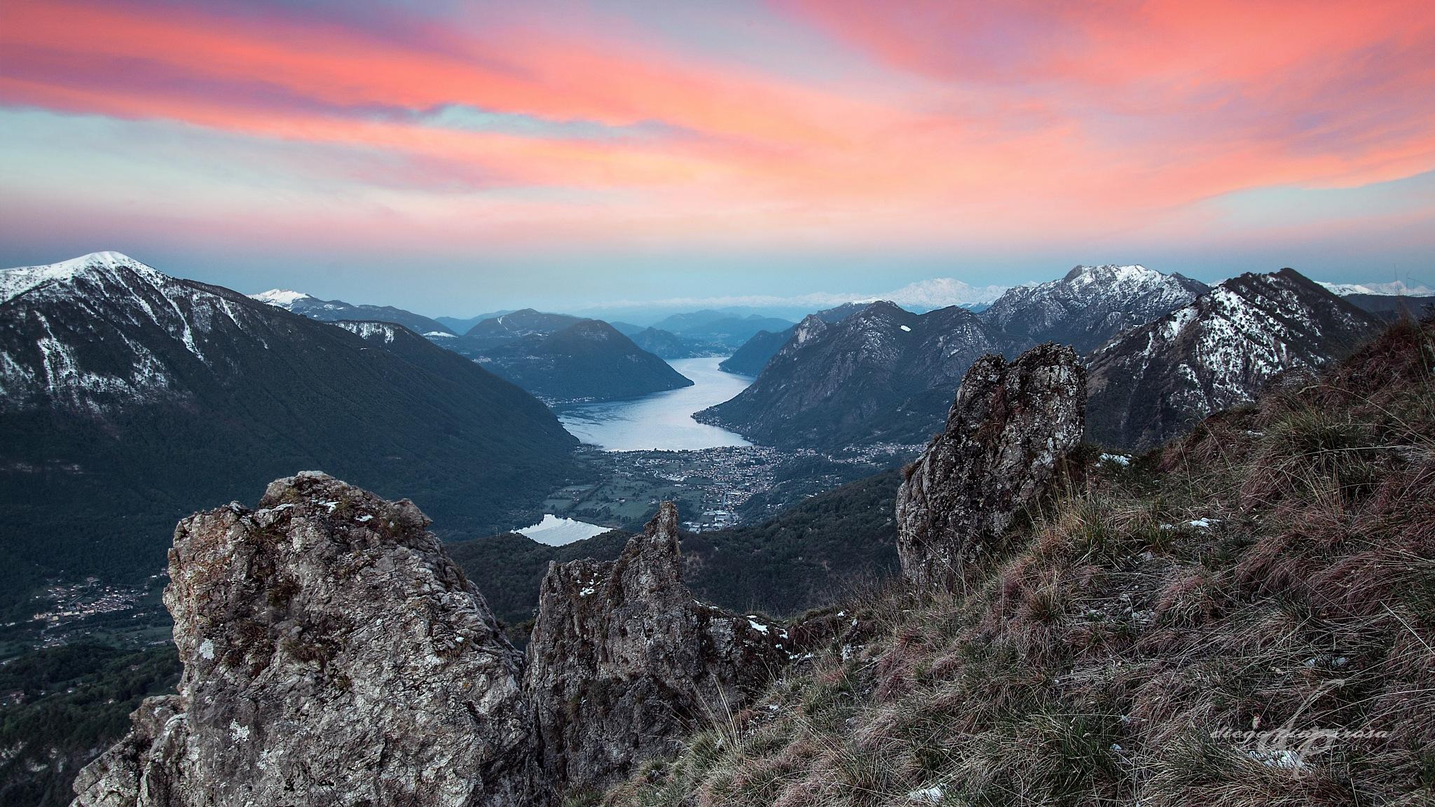 Alba sul lago di Lugano by Diego Pianarosa