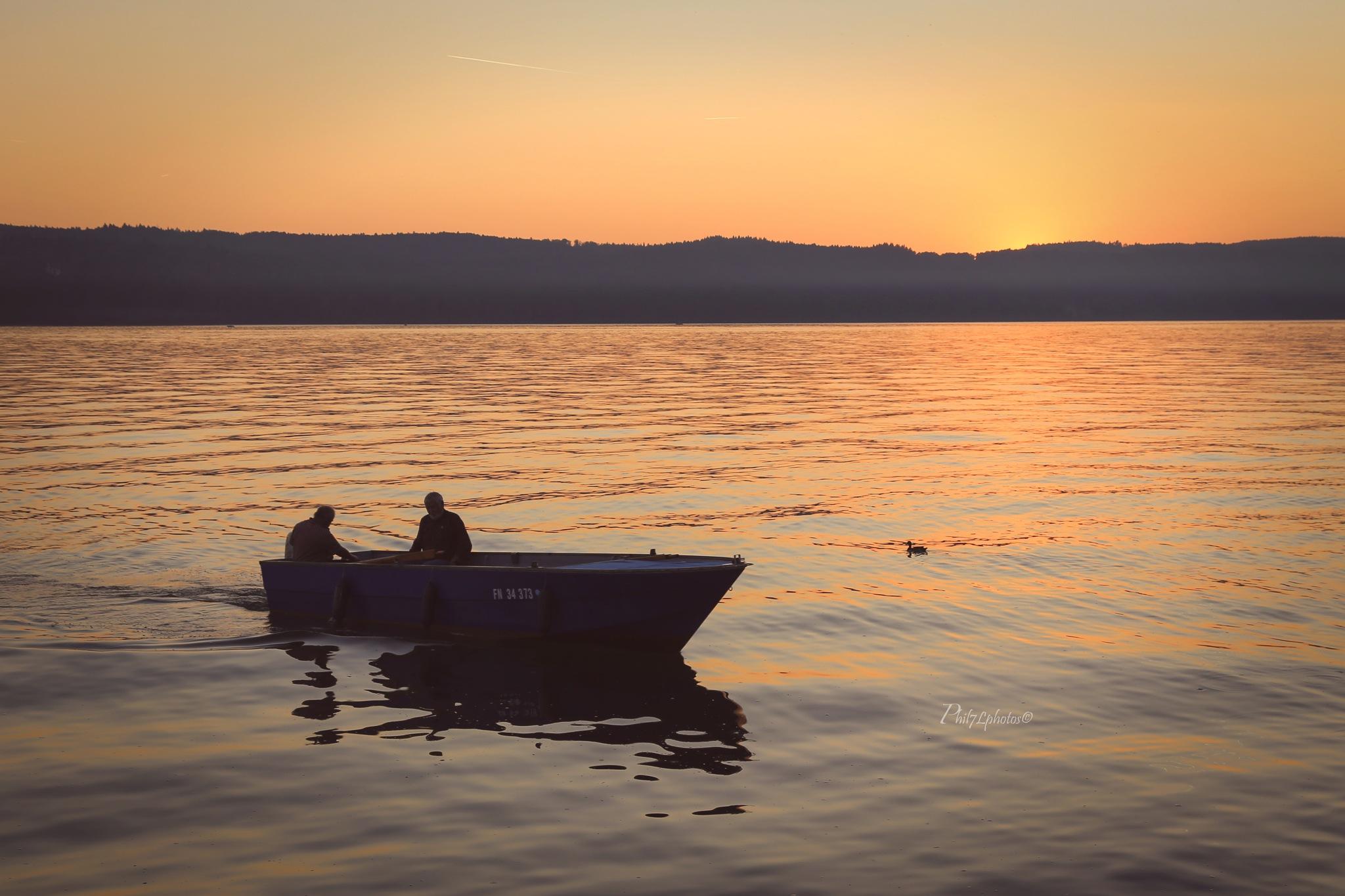 sunset and lake by Filippo Bomparola