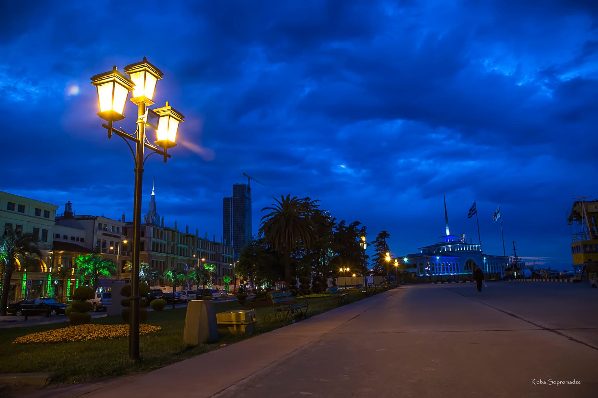 Photo in Landscape #night #sky #blue #bluesky #street #nightphotography #sea #port #ship #batumi #georgia