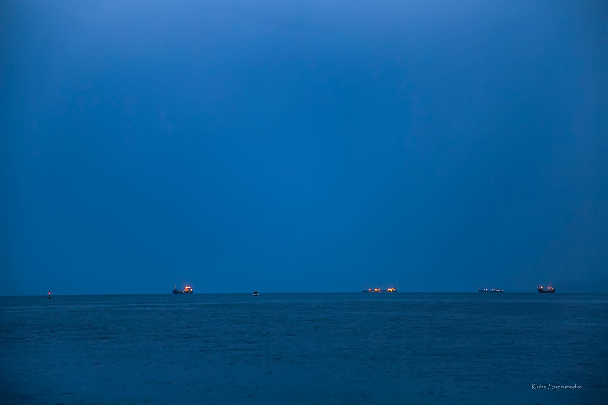 Photo in Sea and Sand #sea #blacksea #black sea #ships #horizon #night #batumi #georgia
