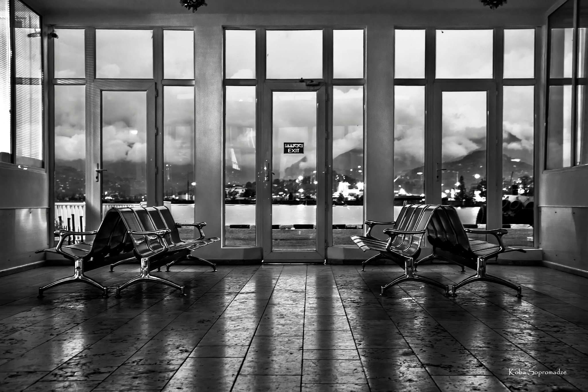 Waiting room at night in the port  by Koba Sopromadze