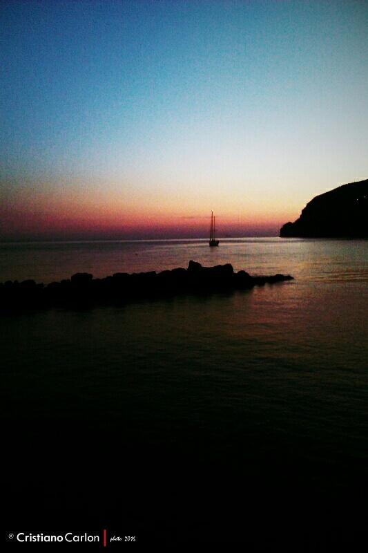 Photo in Landscape #ischia #dream #love #sunset #boat #light #sky #darkness #colours