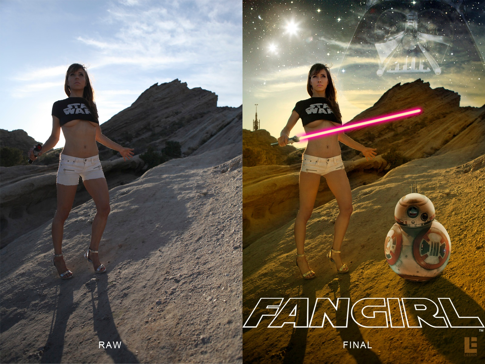 Photo in Film #star wars #fangirl #sexy #outdoors #vasquez rocks #lightsaber #digital art #before & after #droid