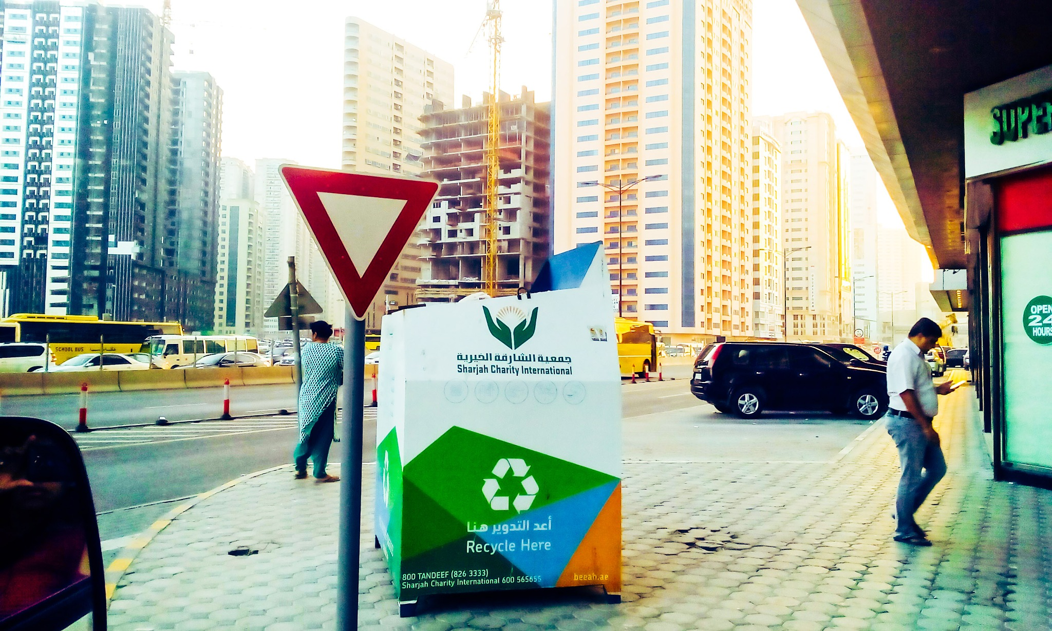 UAE streets in the morning , starts to be crowded at 5:30 am and always the parents sending their s by Aya Bader