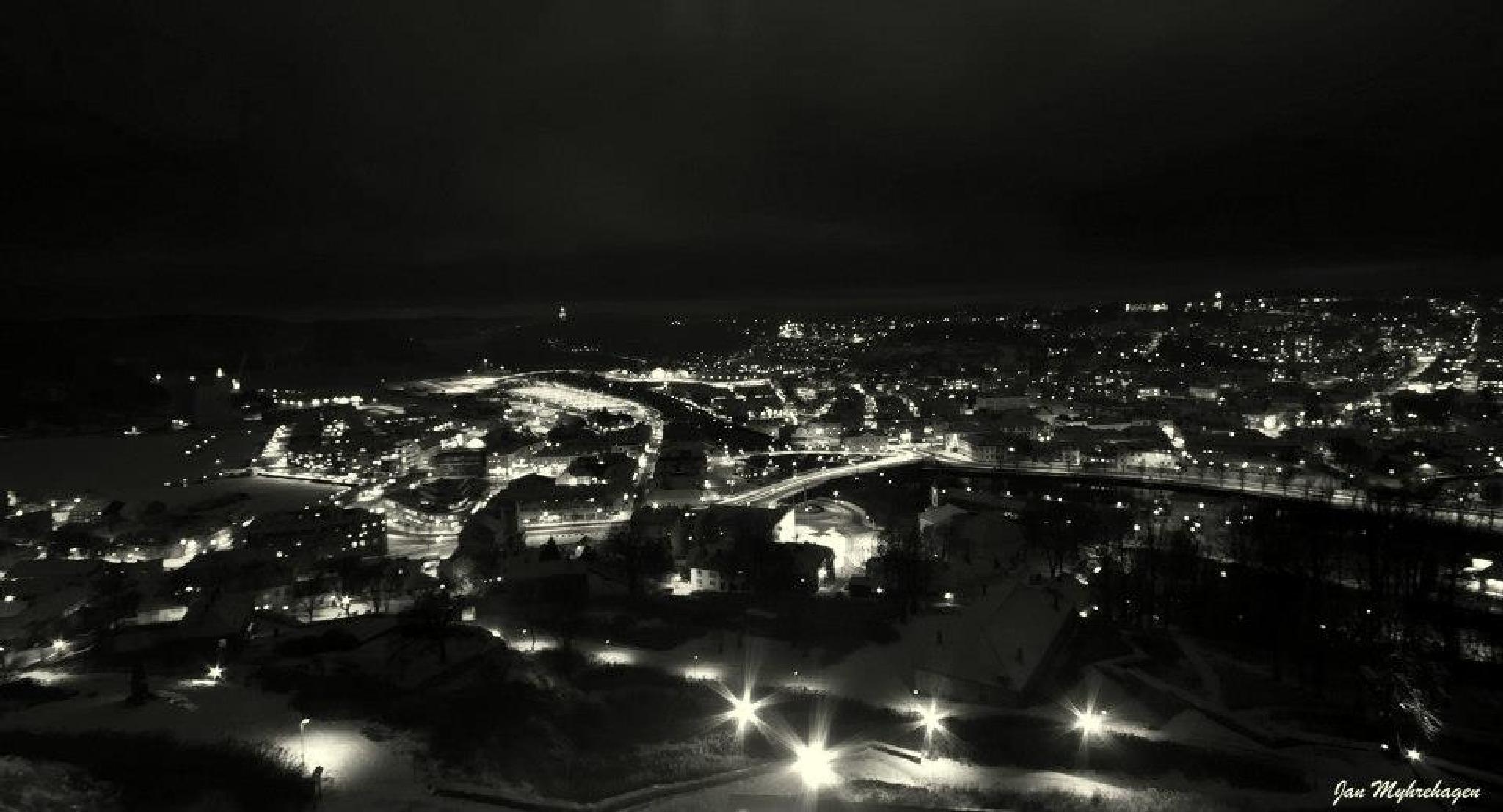Halden City by night by Myhrehagen