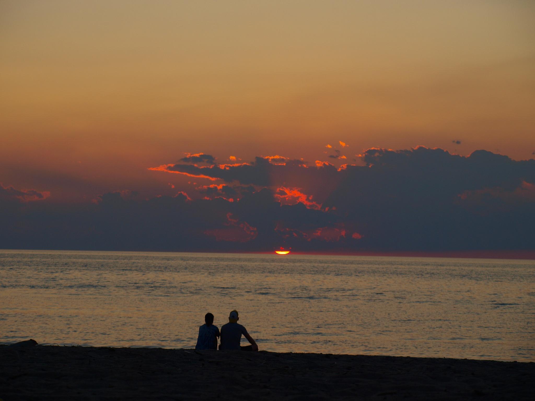 Photo in Sea and Sand #presque isle #sunset #couple #beach #lake erie