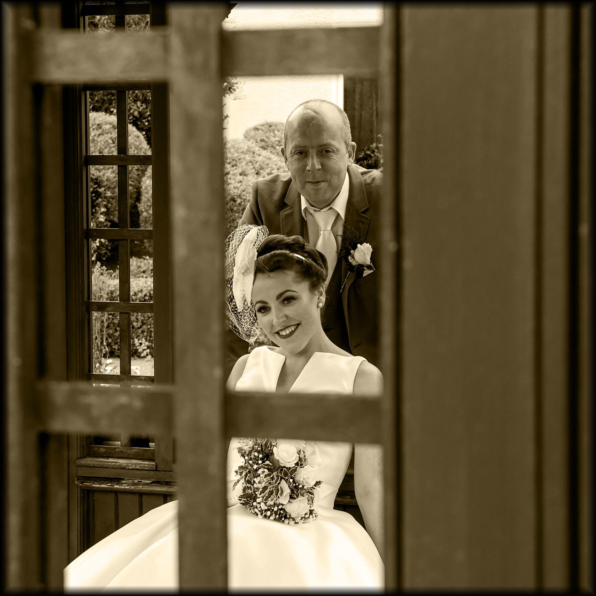 Photo in Black and White #gazebo #bride #groom #wedding #sepia