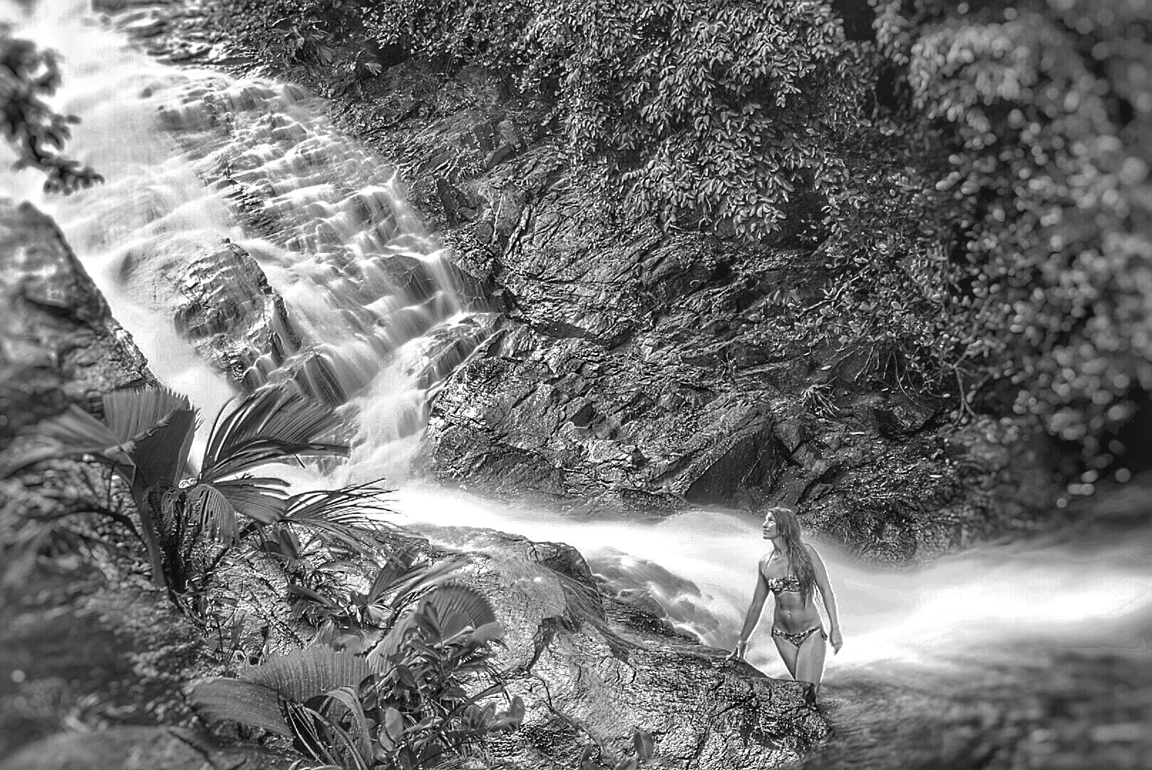 Waterfall b/w by Artur Sulainis