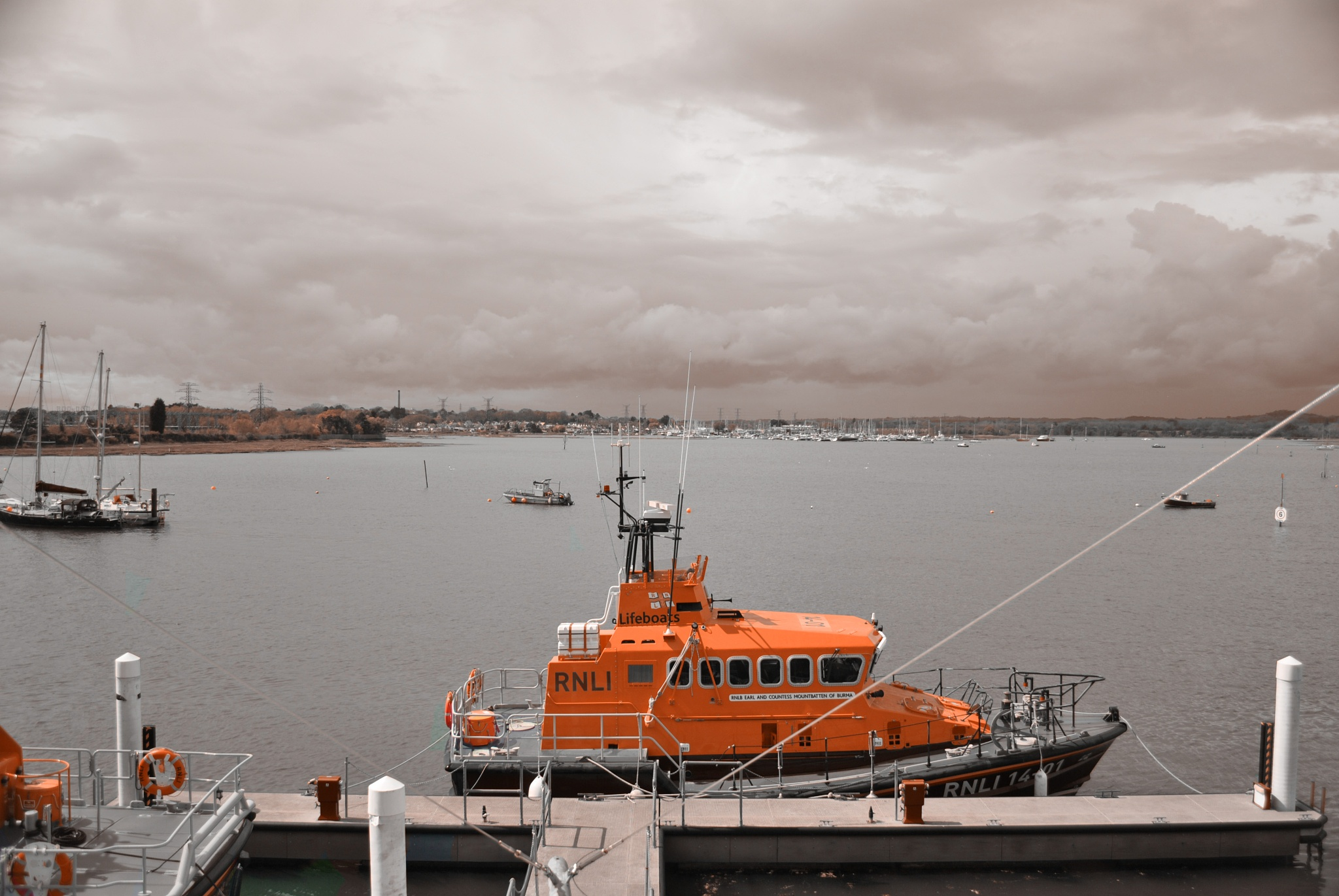 Photo in Sea and Sand #lifeboat #safety #water #life #boat #harbour #poole #orange #rnli