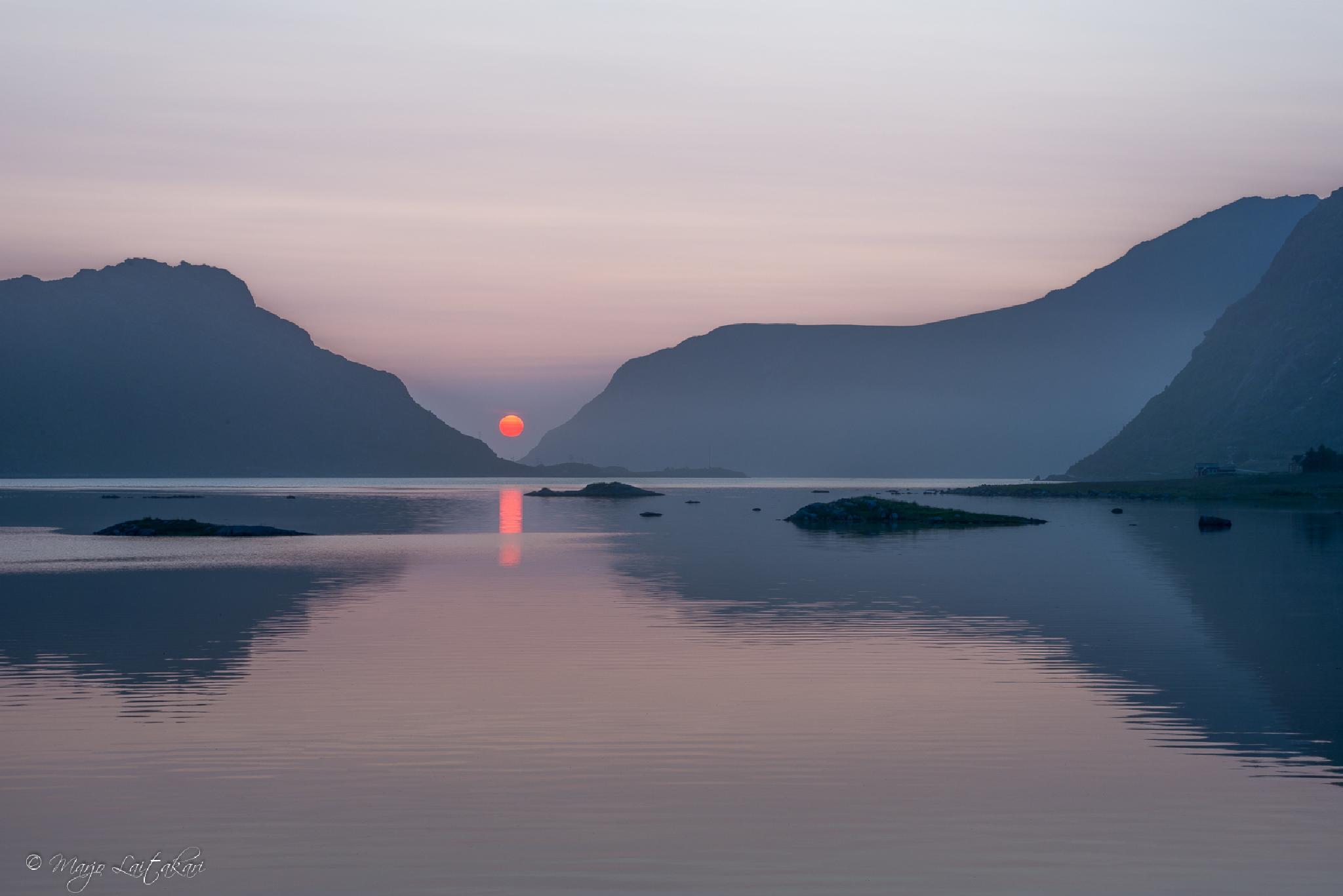 Midnight sun at Bø, Lofoten, Norway by Marjo Laitakari