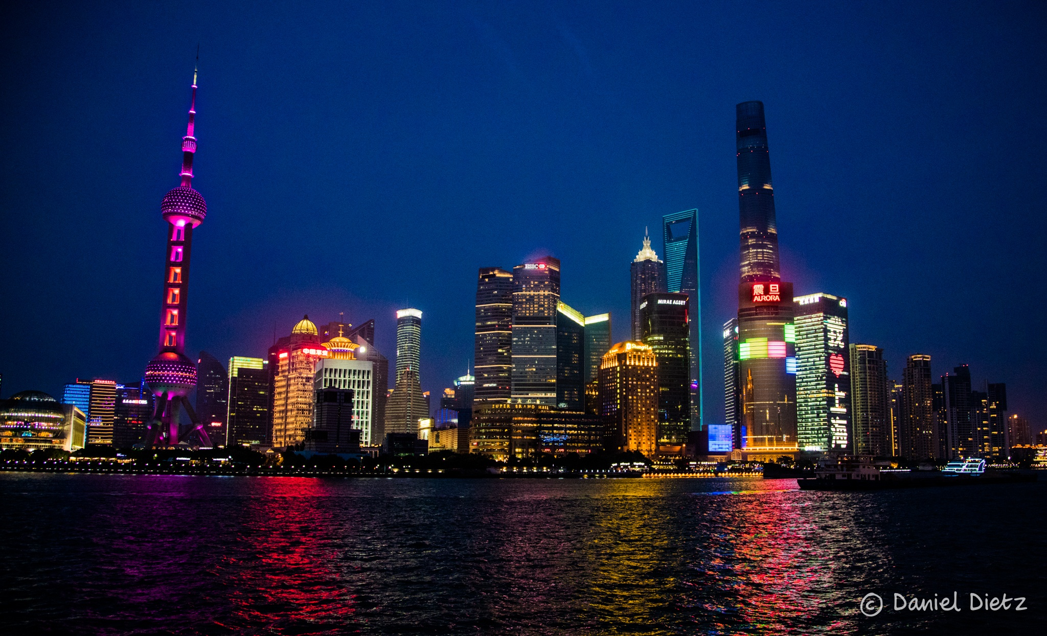 Photo in Cityscape #shanghai #the bund #night #water #river