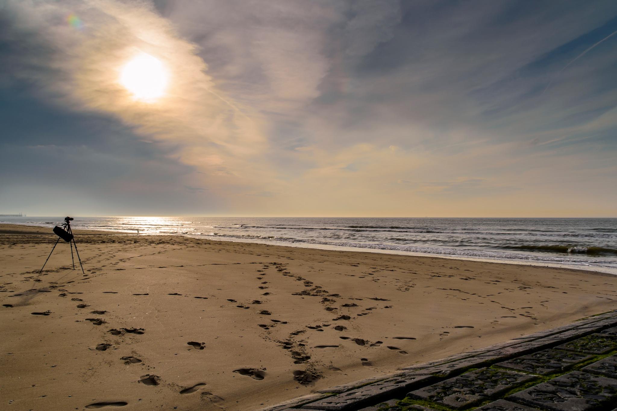 Photo in Landscape #tripod #camera #beach #sand #sea #shore #water