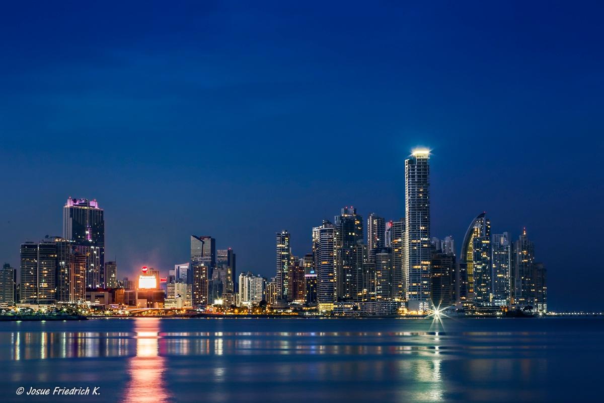 Blue hour view of Panama City by Josue Friedrich