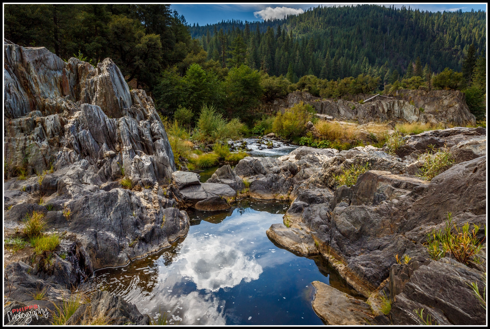 Cloud Reflection, Feather River, California by PhippsPhotography