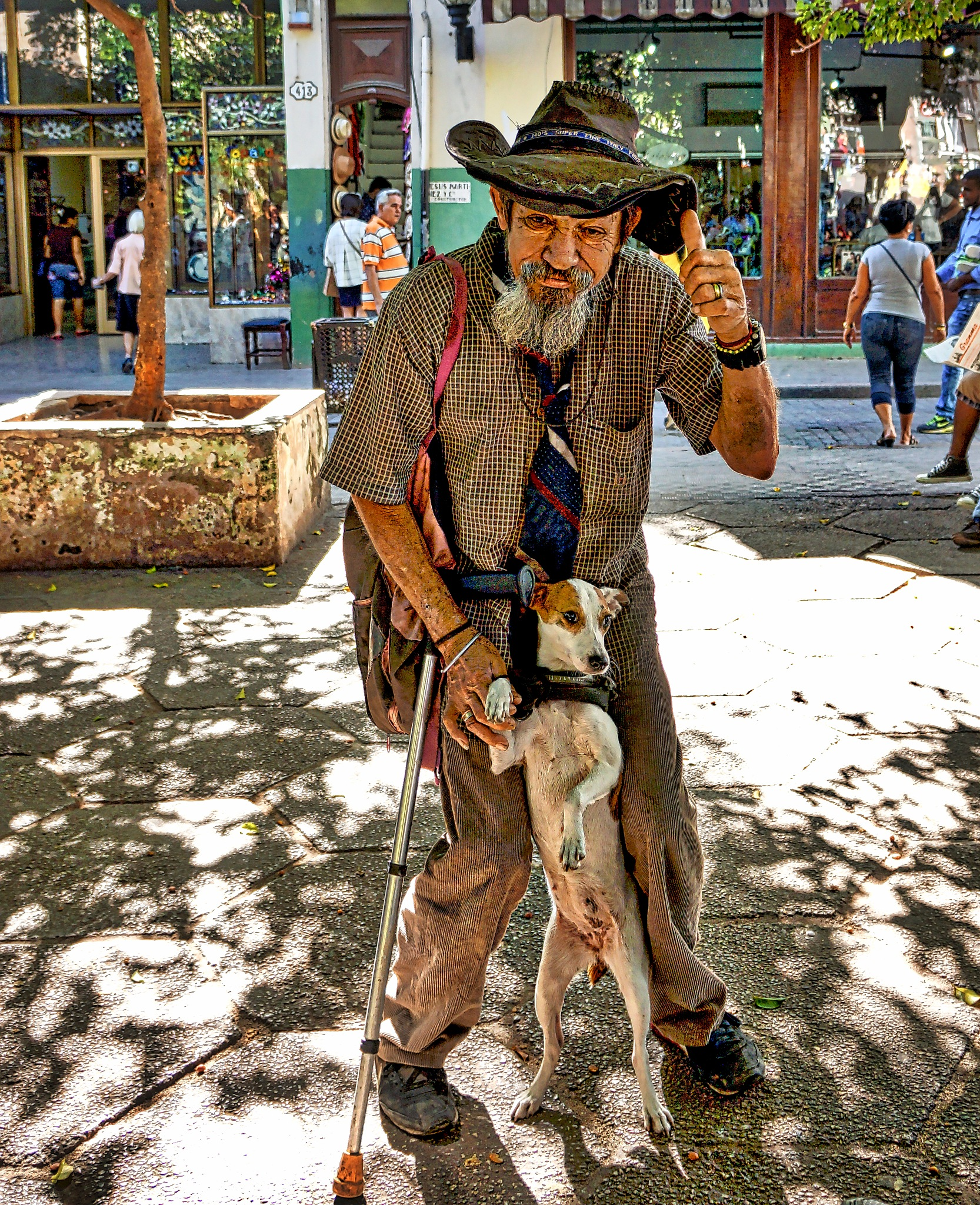 """Old Cuban man and his dog """"Linda"""" by Harrison Hanville"""
