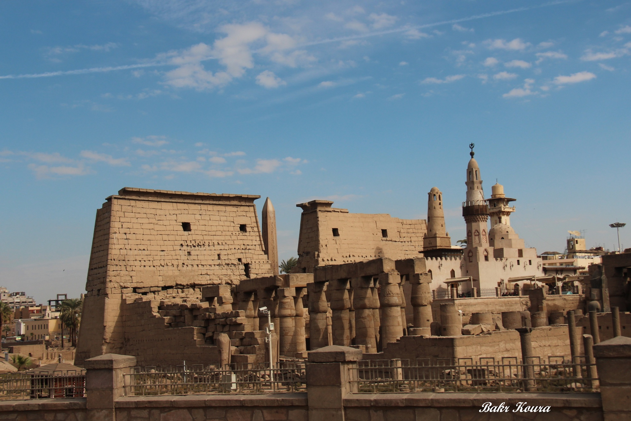 Luxor Temple with the mosque on top by Bakr Koura
