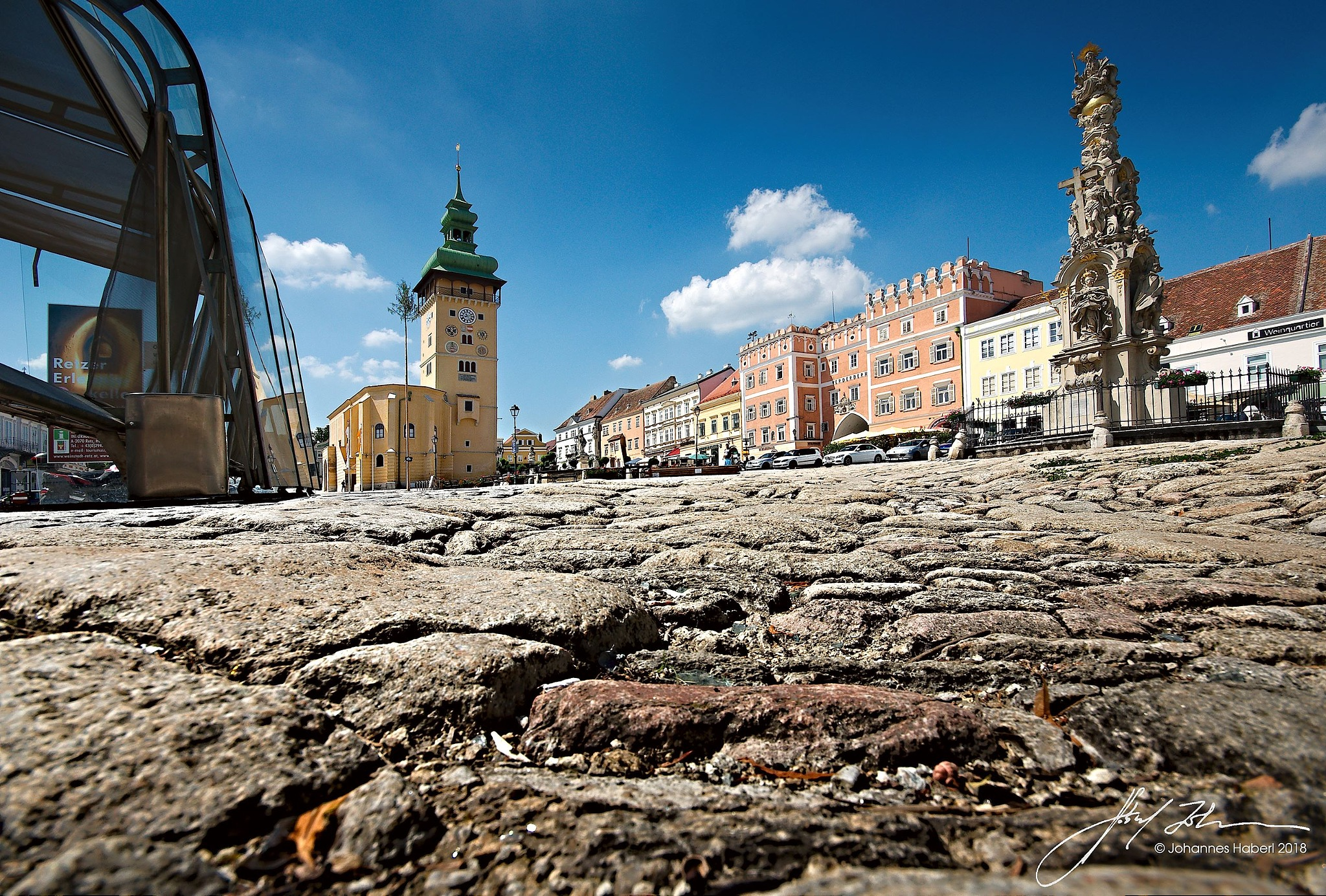 main square Retz with Town Tower & Trinity Column II by Johannes Haberl