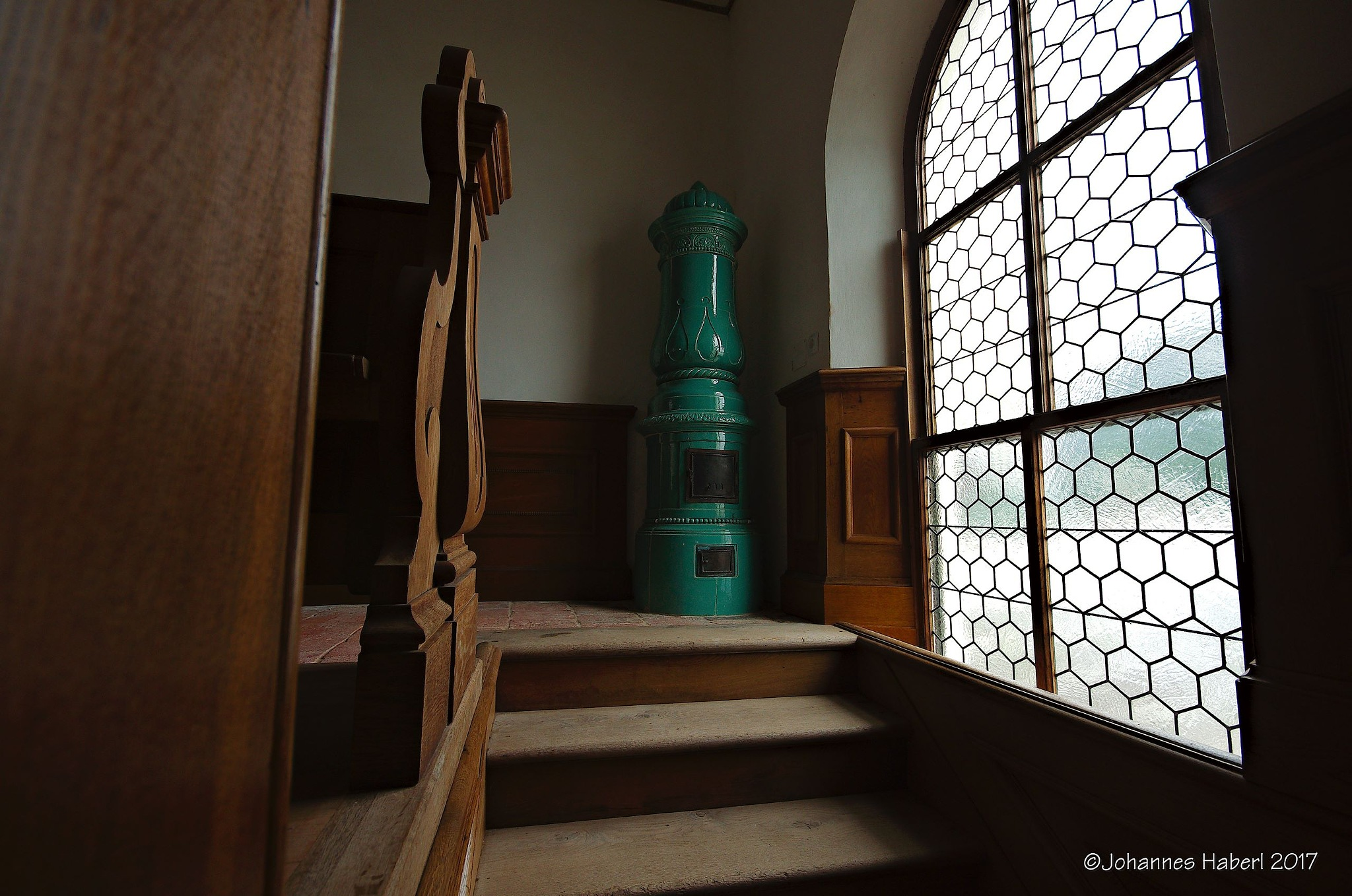 tiled stove - chapel - castle Trautenfels by Johannes Haberl