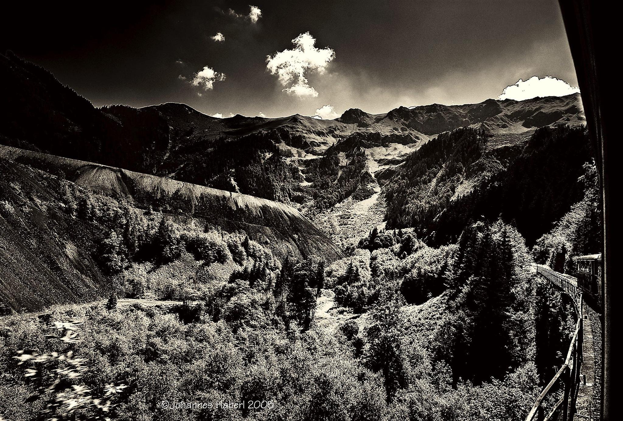 Erzberg - trip with railroad Erzbergbahn IV / B&W, high contrast, toned by Johannes Haberl