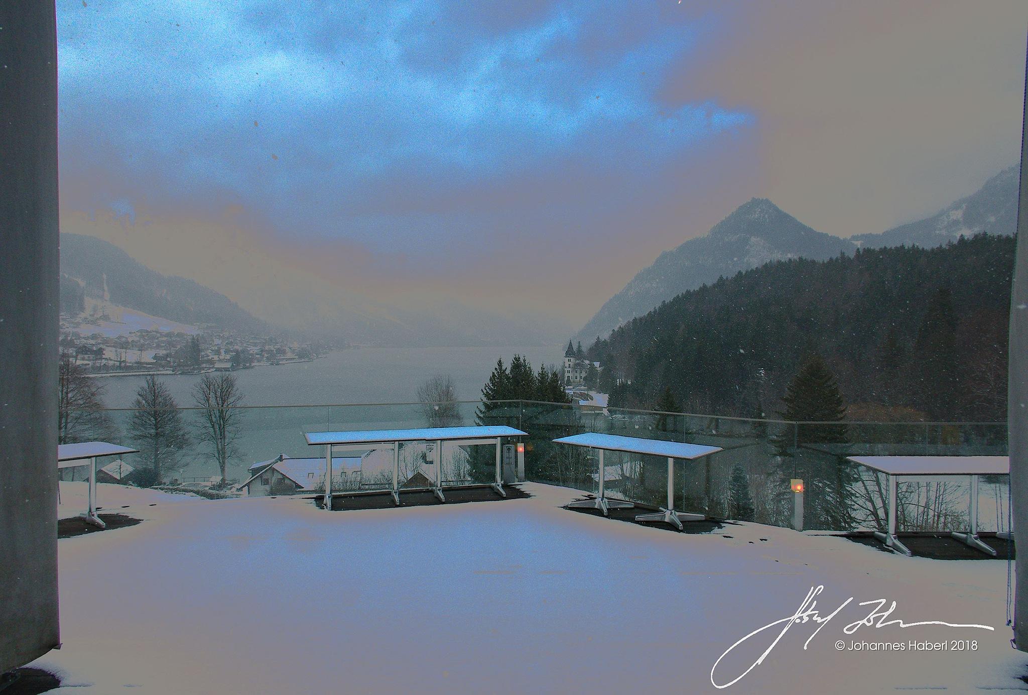 fresh snow falling on Grundlsee / Version II by Johannes Haberl