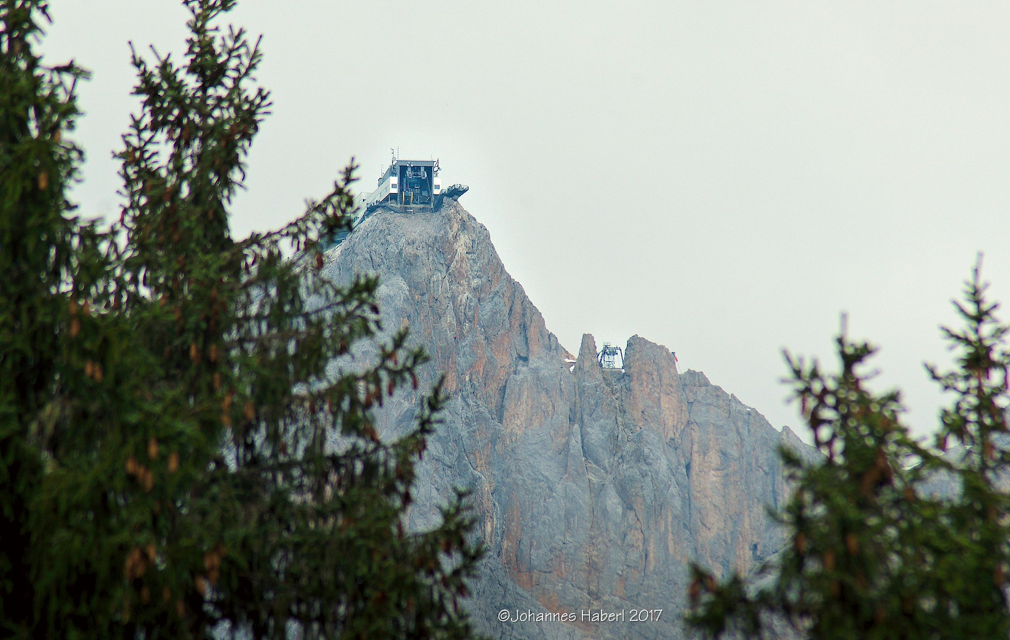"top station, Detail (Zoom) of ""view back to Dachstein"" by Johannes Haberl"