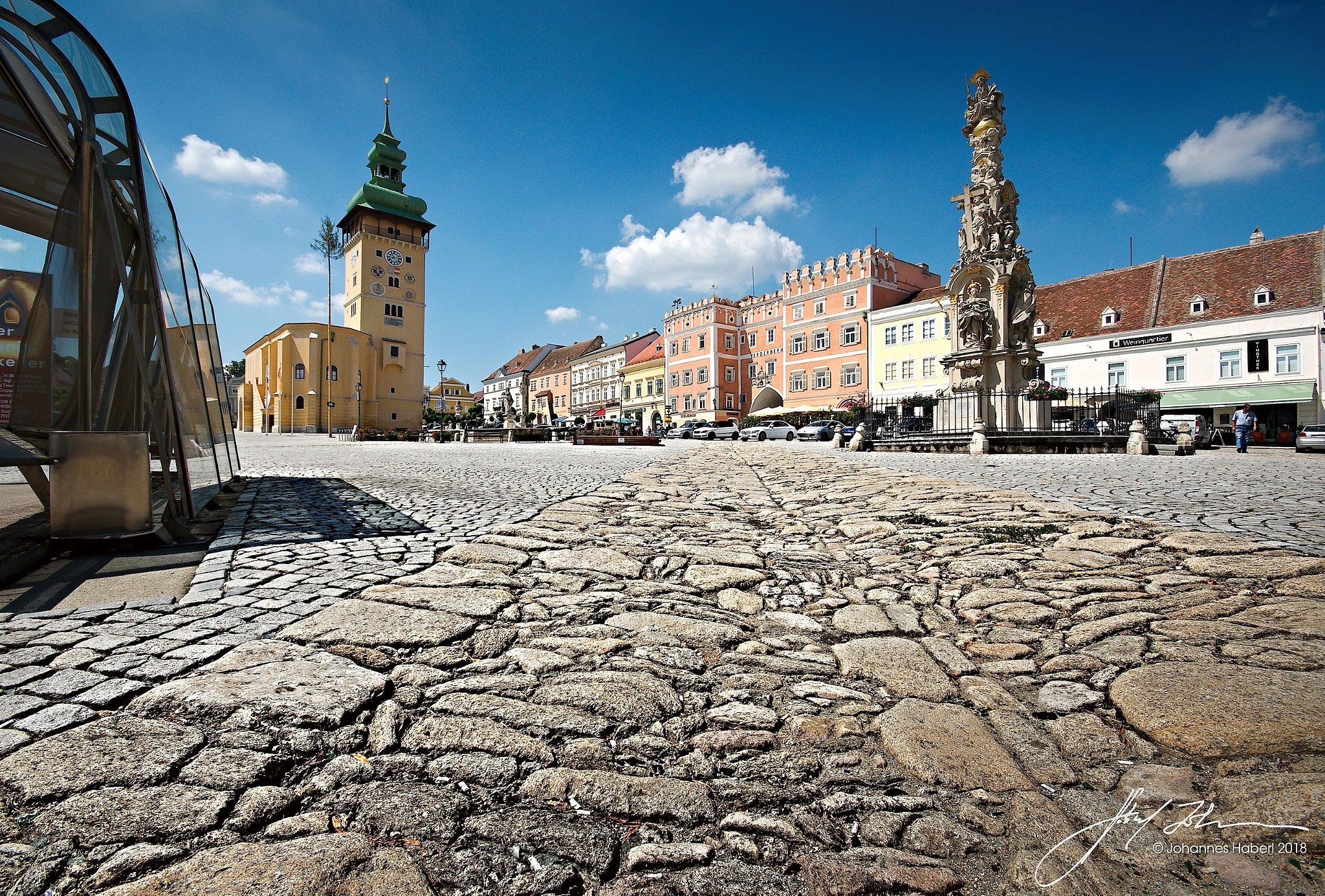 main square Retz with Town Tower & Trinity Column by Johannes Haberl