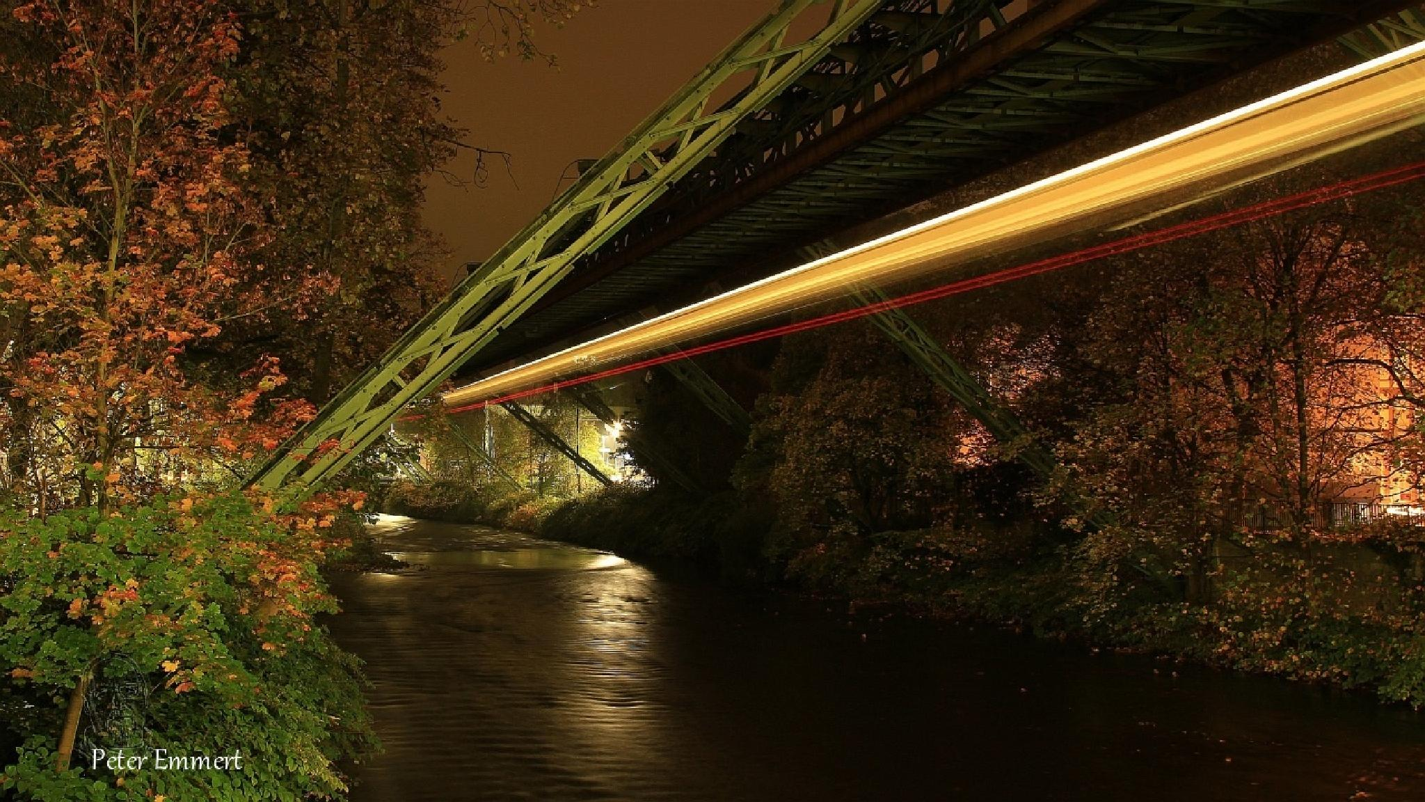 Wuppertal monorail at night. five by Peter Emmert