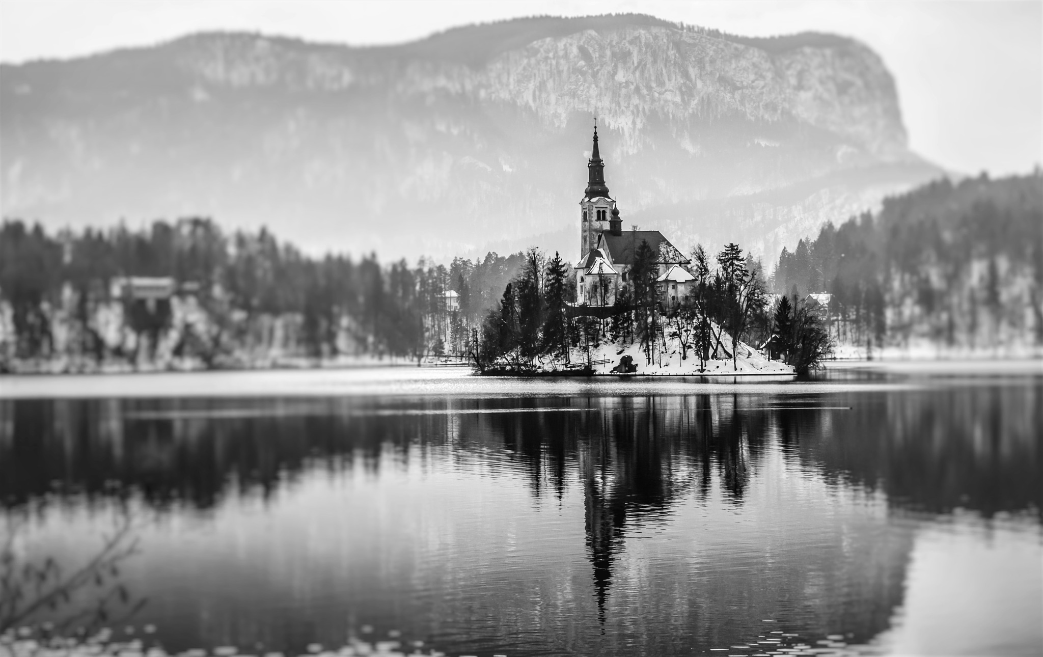 Bled Island in a snowy day by yellowstar