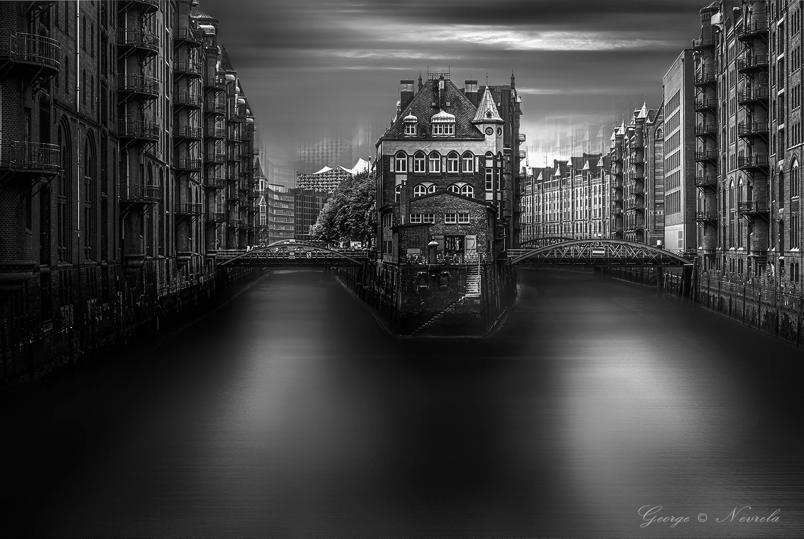 Hamburg Speicherstadt Wasserschloss b&w by GeorgeNevrela