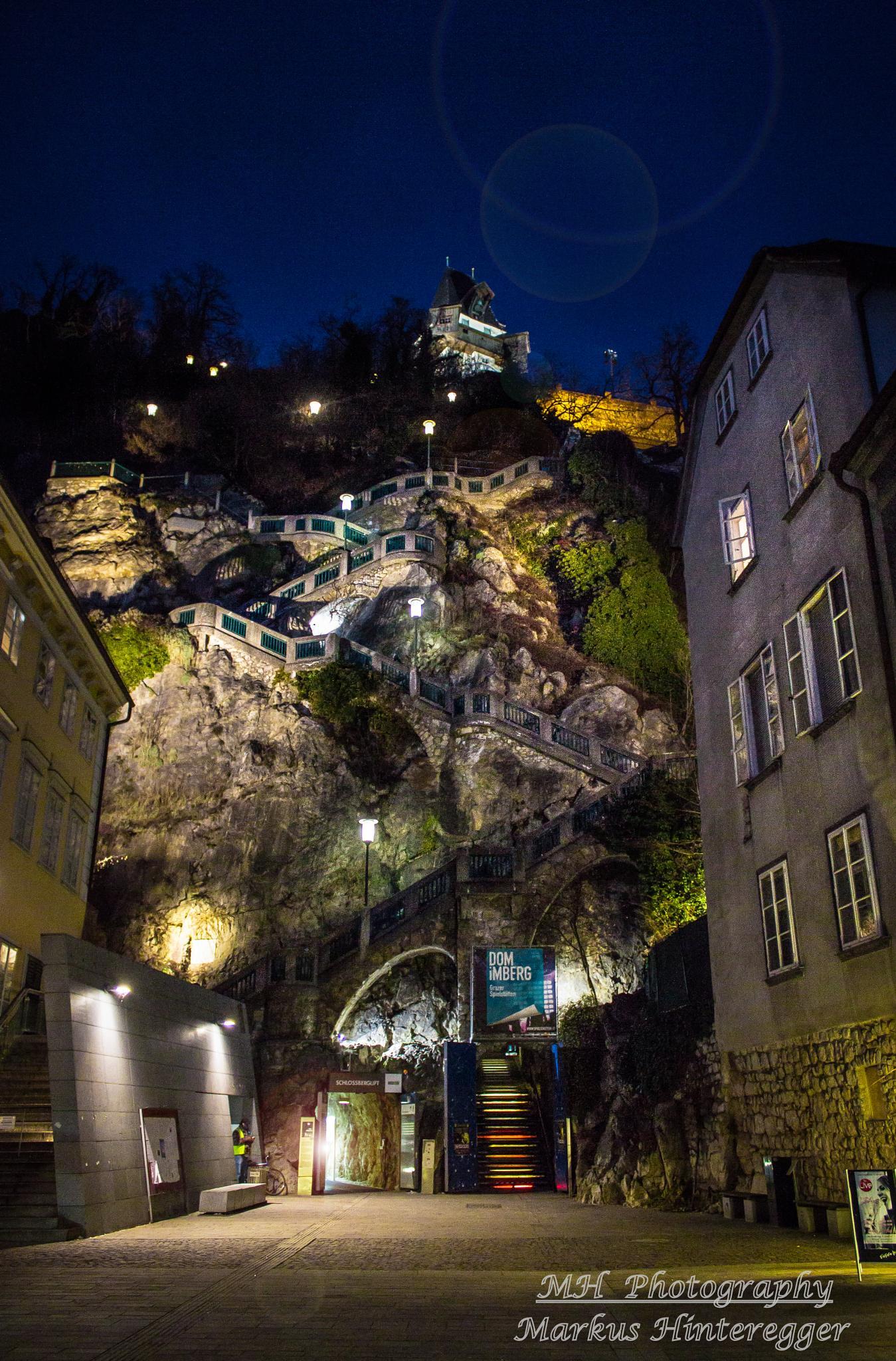 Photo in Street Photography #austria #graz #night photography #stairs #mountain #freehand #clock tower #city #berg #uhrturm #steiermark #hm-photography #lights #canon