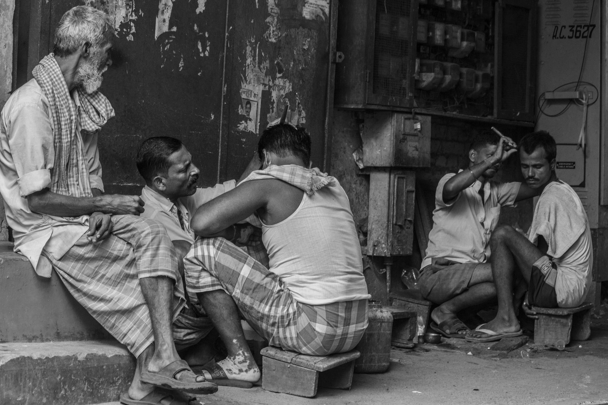 Photo in Street Photography #street #street photography #black and white #people #kolkata #barber shop