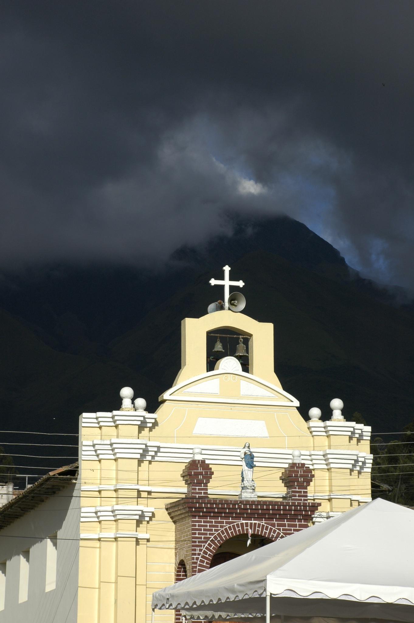 Church, late afternoon, Peguche, Ecuador by arnold weissberg