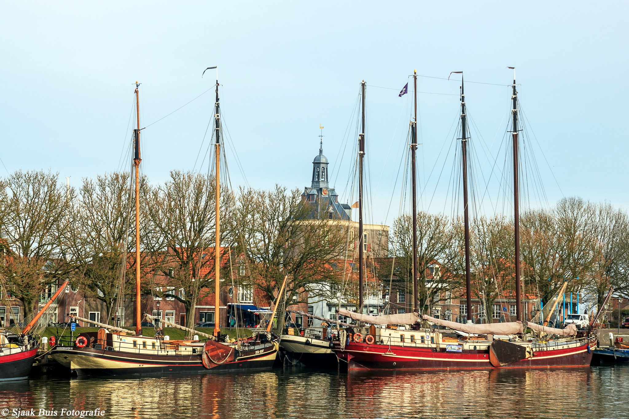 Old ships in the port of Enkhuizen by Sjaak Buis