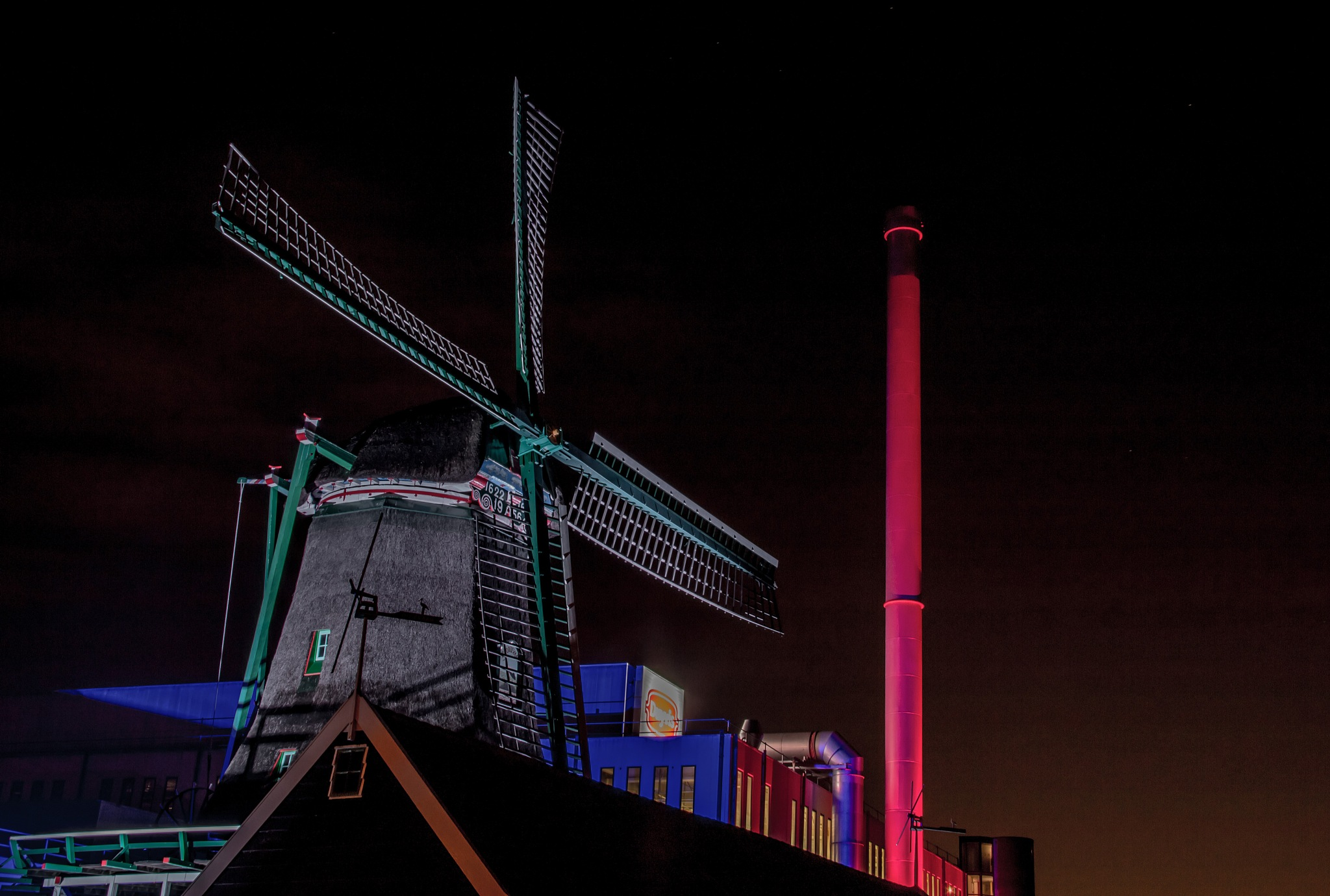 Duyvis Factory with old mill on the Zaan 3 by Sjaak Buis