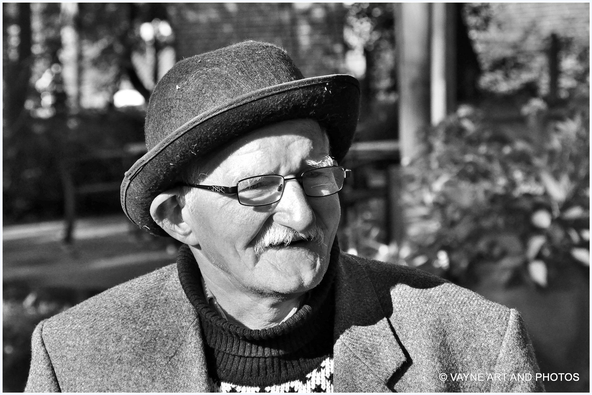 Old man in the street by Jacob van der Veen