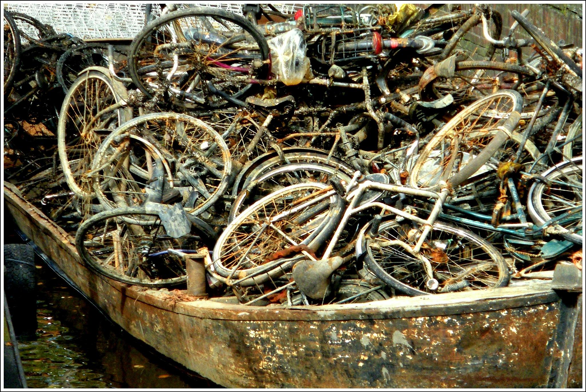Drowned bikes  in the city of Groningen by Jacob van der Veen
