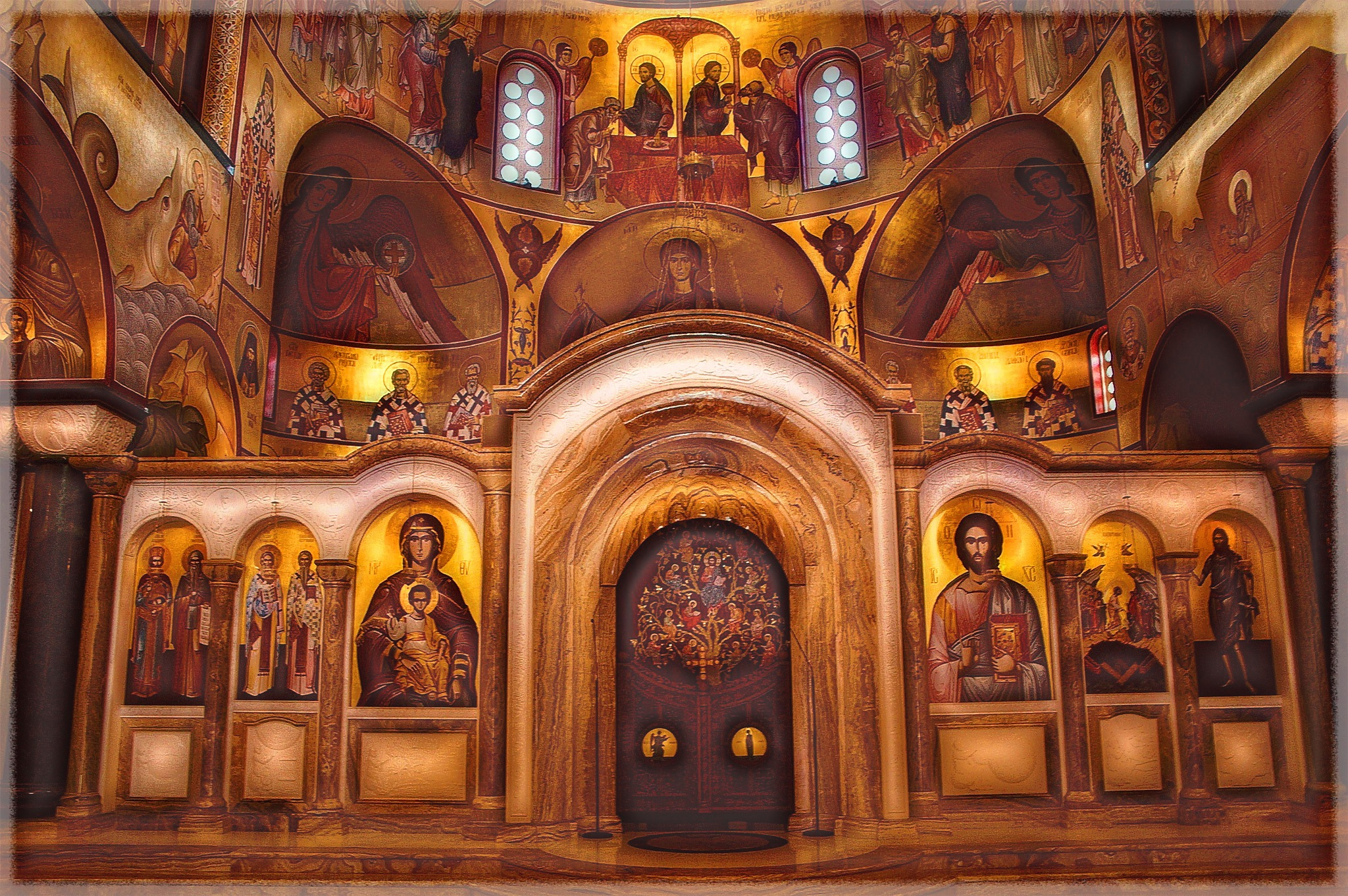the interior of the Orthodox church of the Resurrection of Christ by Milos Jacimovic