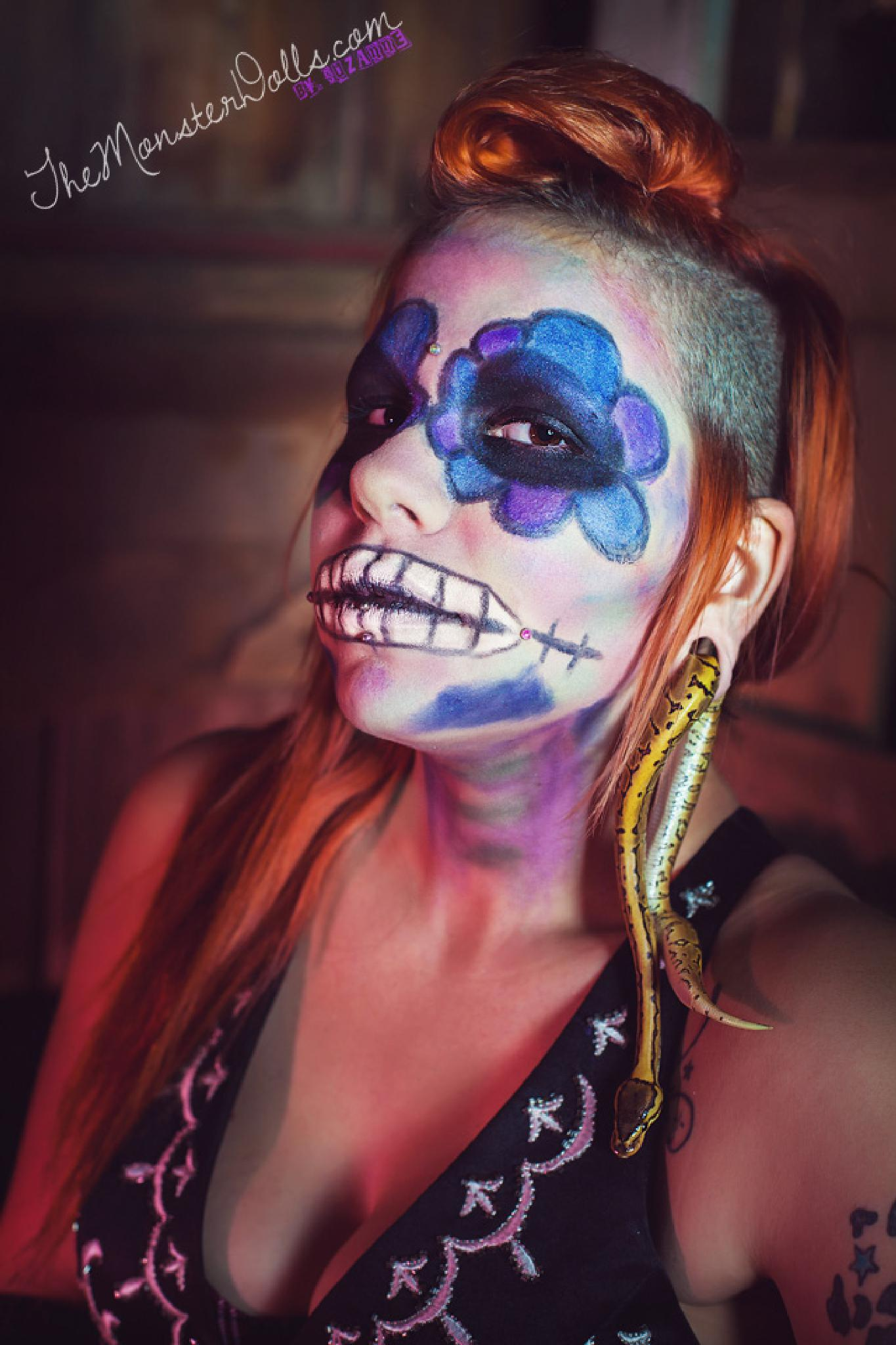 Photo in Portrait #snake #day of the dead #dead #sugar skull #skull #gauge #monster dolls #model #dia de los muertos #weird #odd #make up #scary #creepy #flower