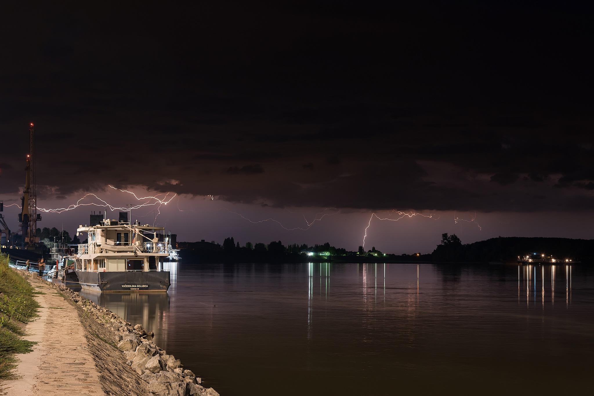 Lightning over Danube river port by Vanja Vidaković, Vukovar-Croatia
