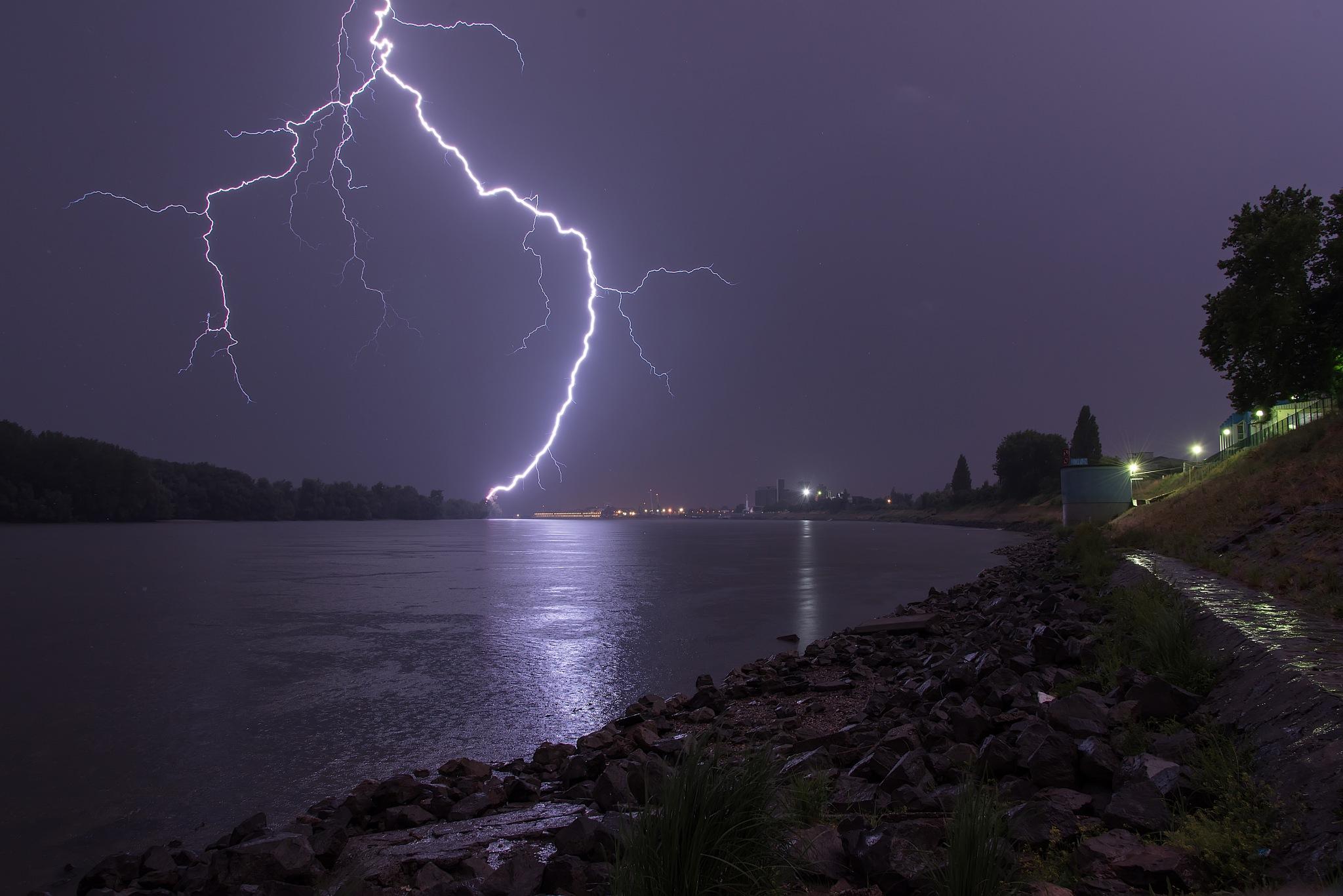 Lightning over Danube 2 by Vanja Vidaković, Vukovar-Croatia