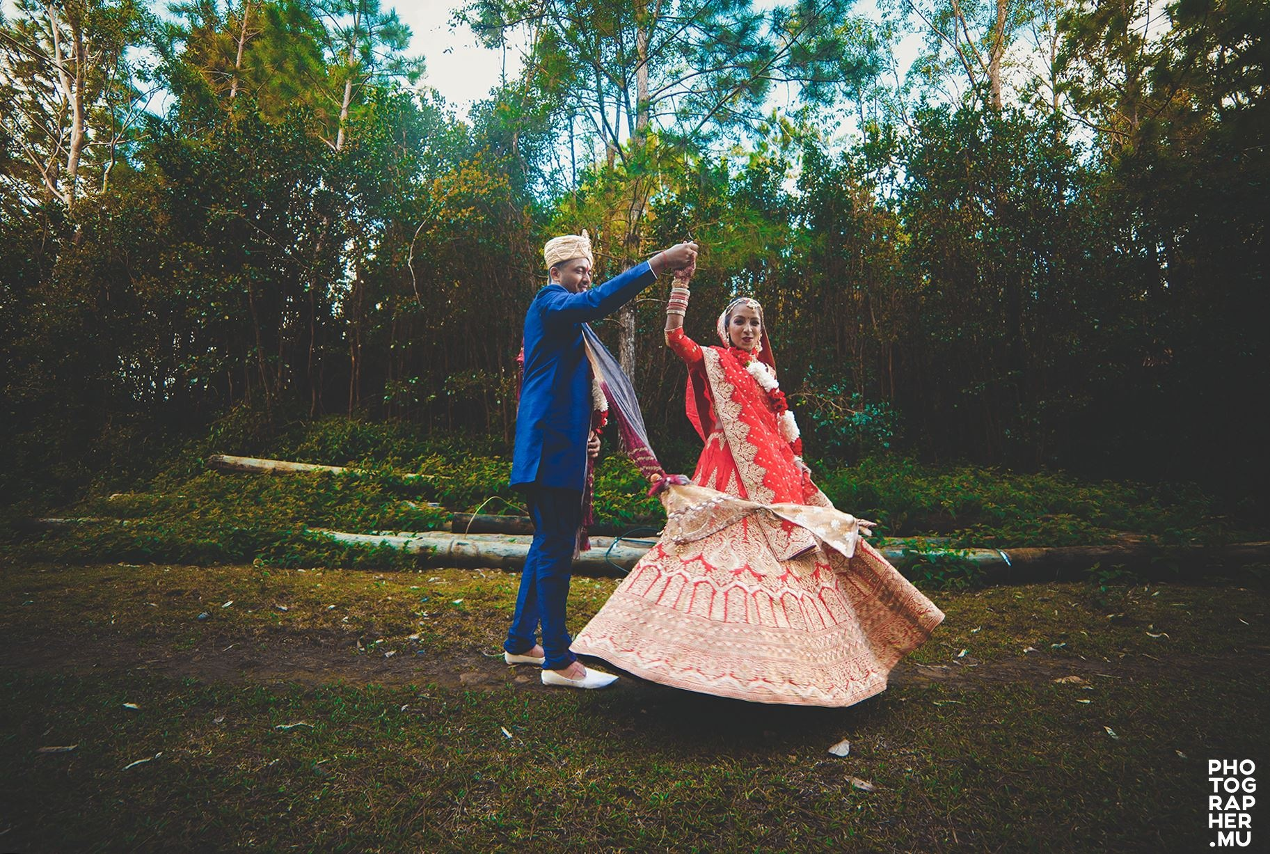 Indian Post Wedding Photoshoot in the woods of Mauritius by Diksh Potter Mauritius Wedding Photographer