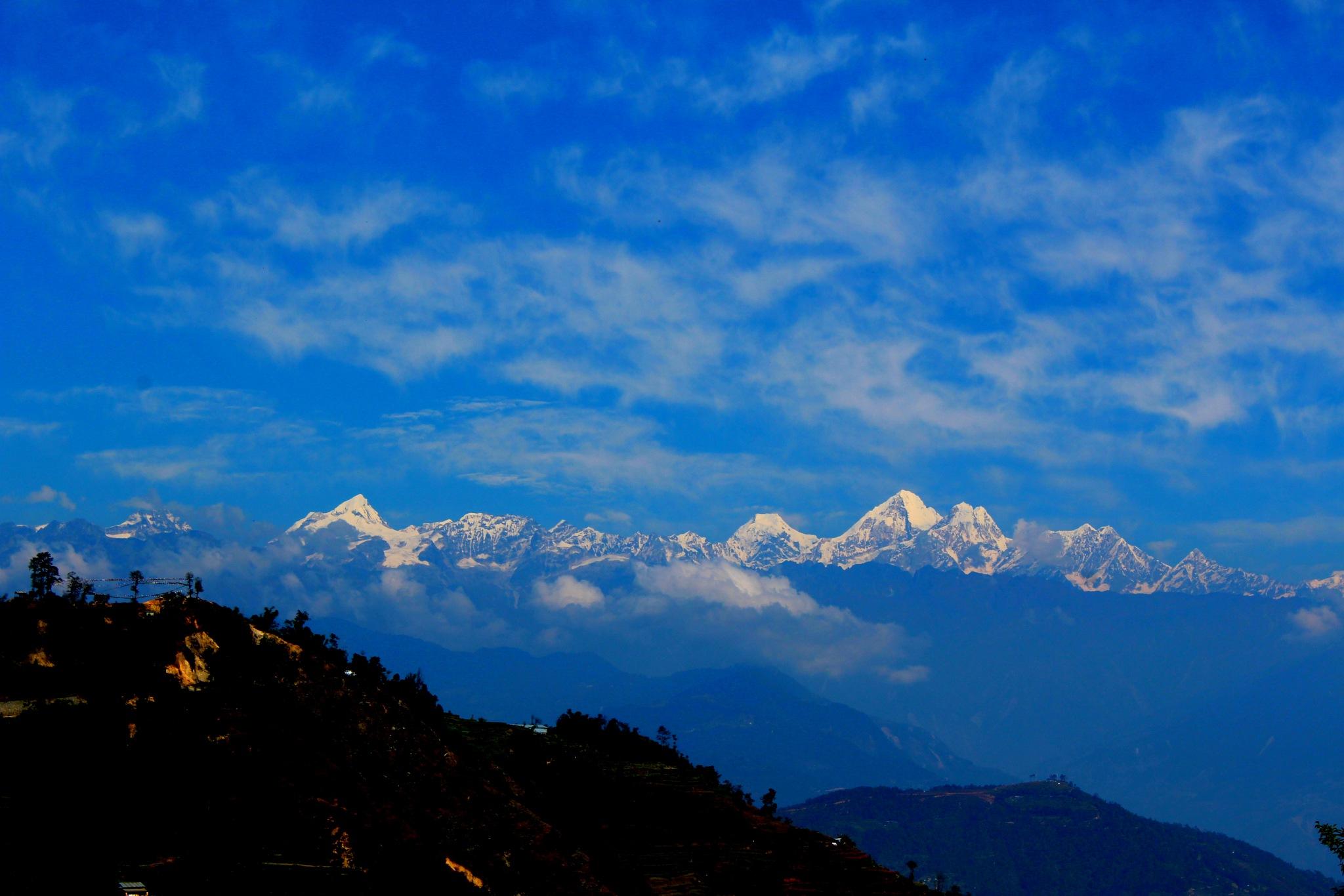 Langtang range seen from Kathmandu, Nepal by SA B TA