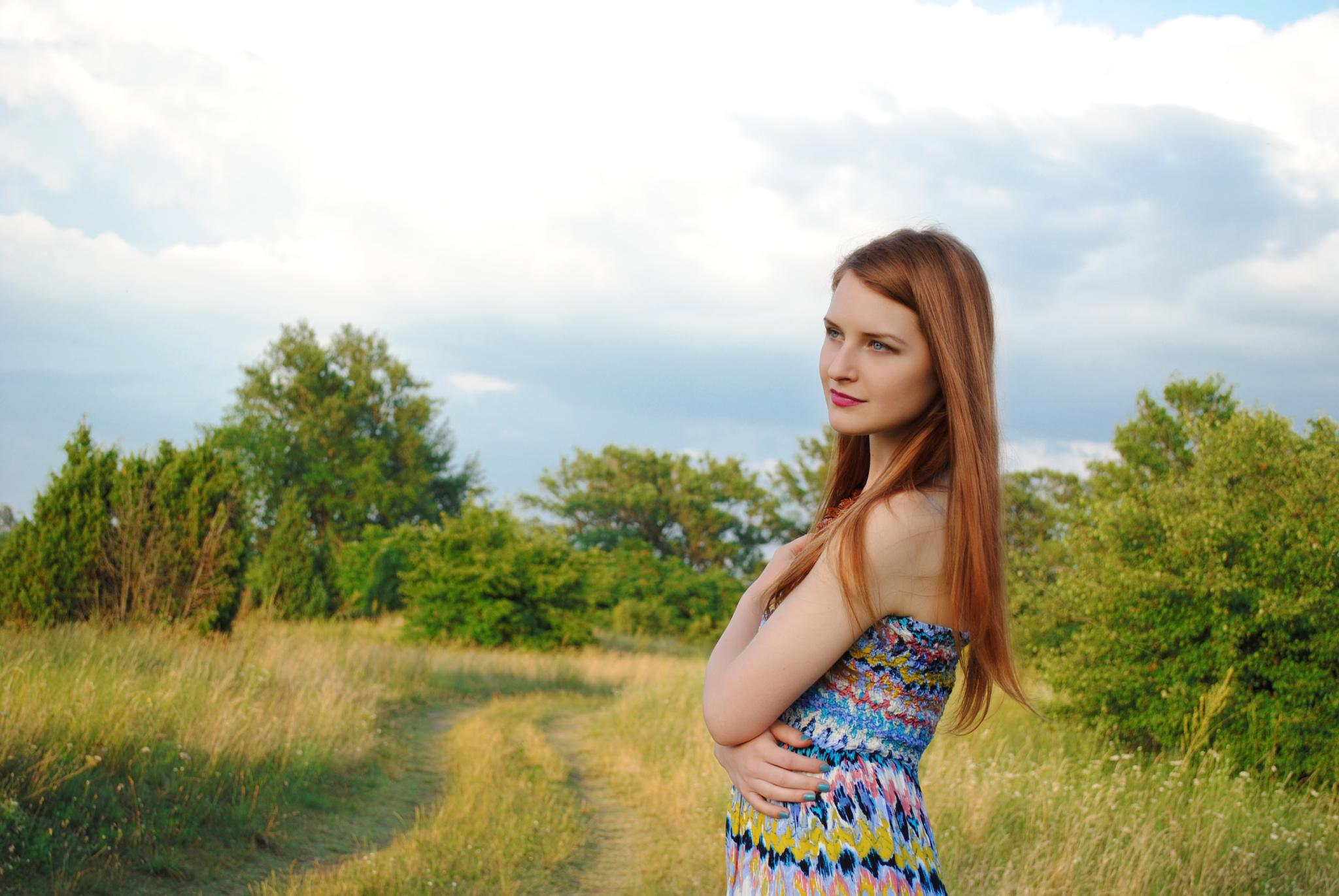 Photo in Portrait #model #girl #young #female #lady #beauty #beautiful #redhead #ginger #red #hair #makeup #make up #blue #eyes #pink #lips #perfect #skin #green #yellow #grass #woods #trees #sky #portrait #nature #face