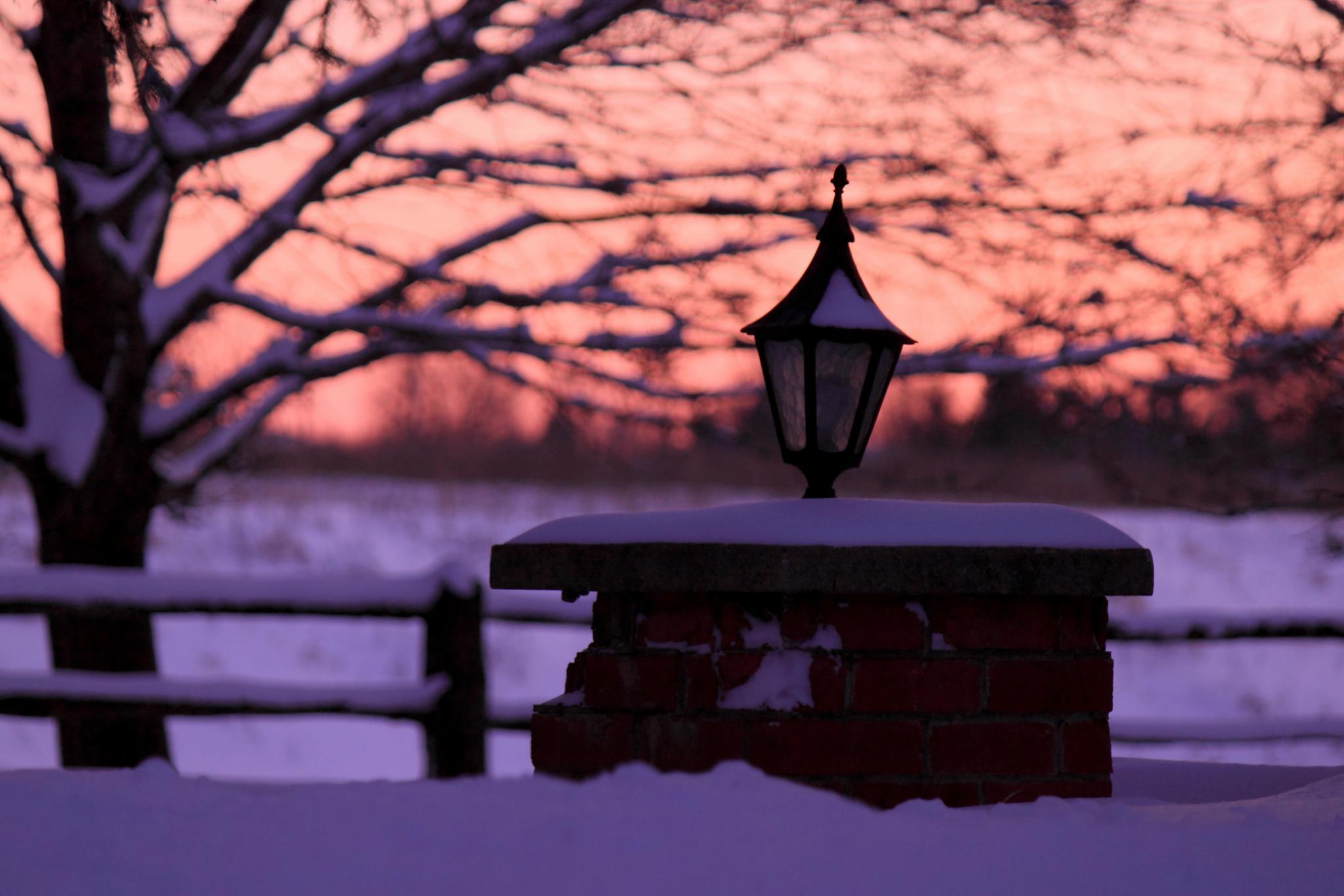 Snowy Sunset by JaniceArnottPhotography